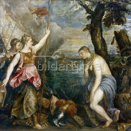 Tizian (Tiziano Vecellio): Spanien kommt der Religion zu Hilfe. 1572-75