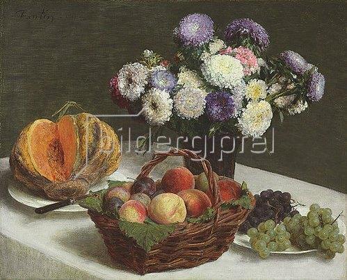 Henri de Fantin-Latour: Stillleben mit Blumen und Früchten. 1865