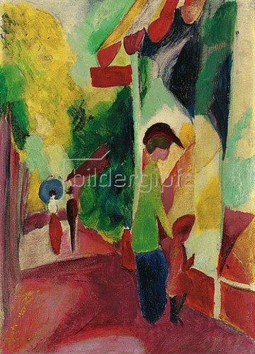 August Macke: Schaufenster mit gelben Bäumen. 1914