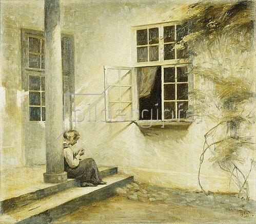 Peter Ilsted: Mädchen auf einer Veranda, Liselund. 1916