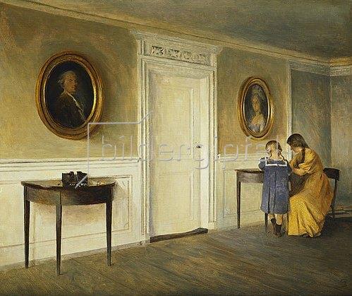 Peter Ilsted: Die Tochter des Künstlers in einem Interieur in Liselum.