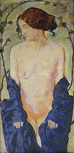 Koloman Moser: Stehender Akt mit blauem Gewand. Um 1900