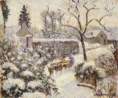 Camille Pissarro: Schnee in Montfoucault. 1891