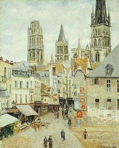 Camille Pissarro: Rue de L'Epicerie in Rouen an einem bedeckten Morgen. 1898