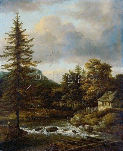 Jacob Isaacksz van Ruisdael: Der Wasserfall mit dem Tannenbaum.