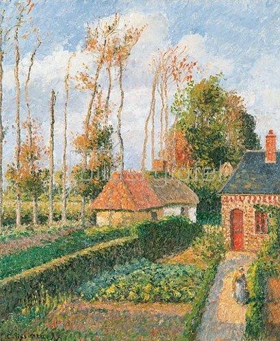 Camille Pissarro: Der Gemüsegarten des Gutshauses von Ango bei Sonnenuntergang.