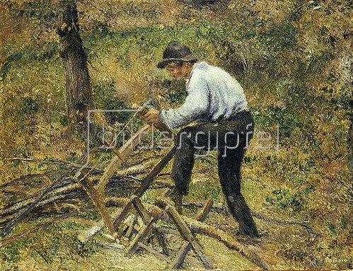 Camille Pissarro: Der Vater beim Holzsägen, Pontoise. 1879