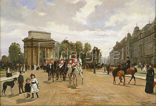 Filippo Baratti: Die Life Guards passieren Hyde Park Corner, London. Um 1886