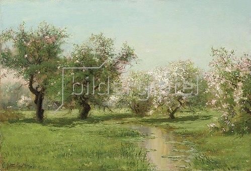 Arthur Parton: Obstbäume im Frühling.