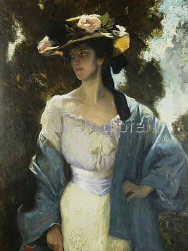 Charles Wellington Furse: Frances Josephine Furse, Schwägerin des Künstlers, in einer blauen, orientalischen Jacke. 1903