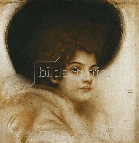 Franz von Stuck: Porträt einer Dame mit Hut.