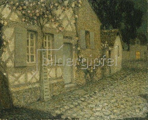 Henri Le Sidaner: Das Haus des Gärtners im Mondlicht, Gerberoy. 1926