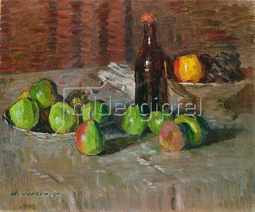 Alexej von Jawlensky: Stillleben mit Äpfeln und Flasche. Um 1905