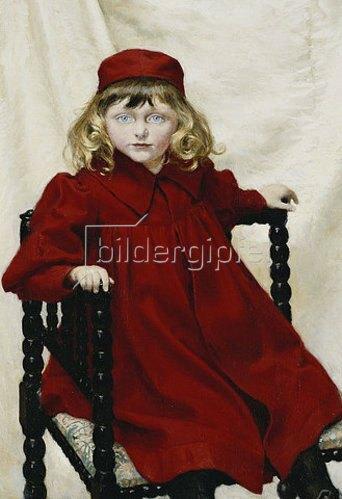 Paul Fischer: Portrait von Harriet Fischer in einem roten Kleid. 1896