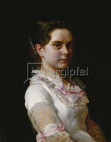 Joseph Kostka: Porträt von Margarete Rieckehoer in weißem Kleid mit rosa Schleifen. 1882