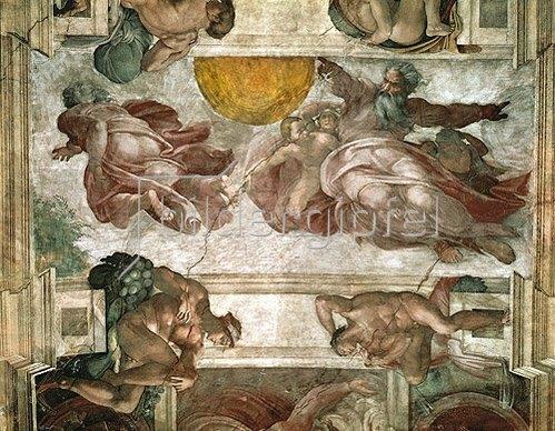 Michelangelo: Deckengemälde  der Sixtinischen Kapelle in Rom: Die Erschaffung der Gestirne.