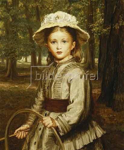 Frederick Bacon Barwell: Ein Mädchen spielt mit einem Reif.