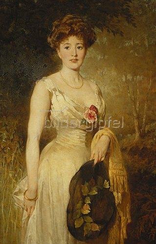 George Elgar Hicks: Porträt einer Dame in weißem Kleid. 1909