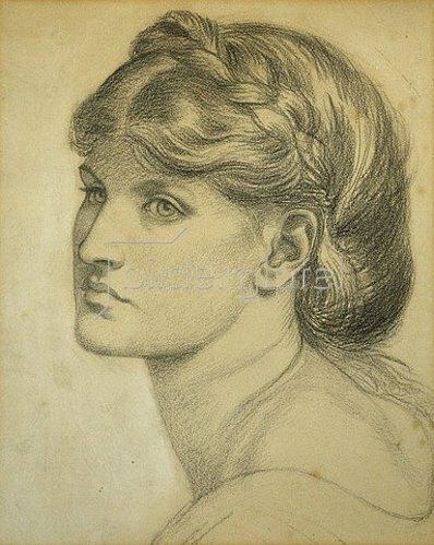 Dante Gabriel Rossetti: Studie für 'The Bower Meadow'.