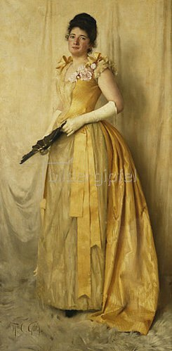 Thomas Cooper Gotch: Dame in Gold - Porträt von Mrs. John Crooke. 1891
