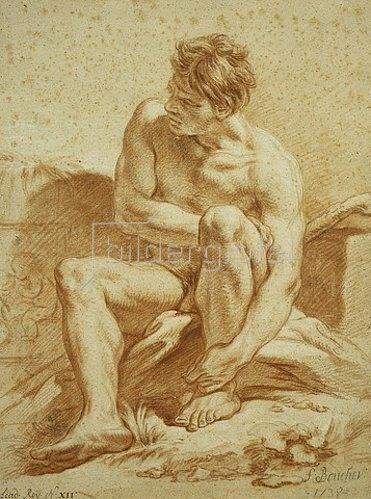 François Boucher: Sitzender Akt mit Stab vor ein Puttenrelief. 1738