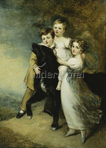 William Beechey: Drei Kinder mit Hund vor Landschaft.