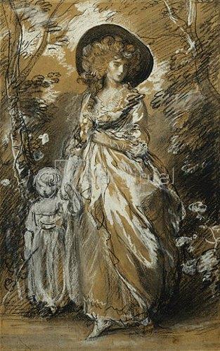 Thomas Gainsborough: Eine Dame im Garten mit ihrem Kind an der Hand (möglicherweise eine Studie für The Richmond Water-Walk).