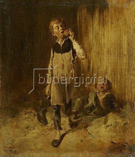 Wilhelm Busch: Zwei Schusterjungen nach der Balgerei um einen Apfel. Um 1875