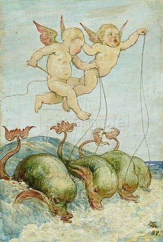 Hans Thoma: Putten mit Delphinen. 1887