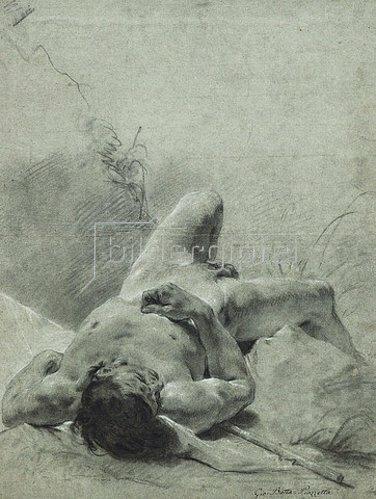 Giovanni Battista Piazzetta: Ein jugendlicher Akt auf einer Standarte.