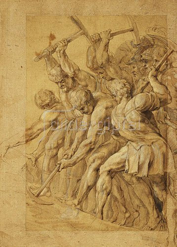 Peter Paul Rubens: Soldaten zerstören eine Brücke.