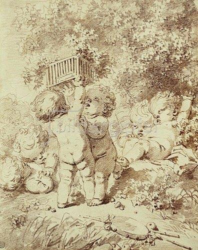 Jean Honoré Fragonard: Sechs Putten beim spielen mit einem Käfig.