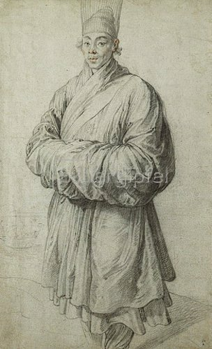 Peter Paul Rubens: Mann in Koreanischem Kostüm mit transpartenter Kopfbedeckung aus Pferdehaar, im Hintergrund ein Schiff.