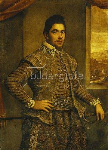 Domenico Tintoretto: Bildnis eines Gentleman in besticktem Kostüm vor Landschaft.