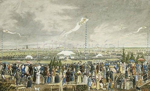 Heinrich Adam: Pferderennen und Oktoberfest auf der Theresienwiese. Um 1820-25