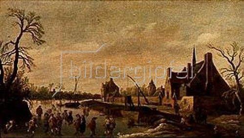 Jan van Goyen: Flußlandschaft mit Schlittschuhläufern bei einem Dorf. 1627.