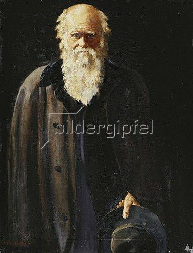 John Collier: Bildnis von Charles Darwin (die kleine Version des Porträts in de National Portrait Gallery London, von 1883). 1897