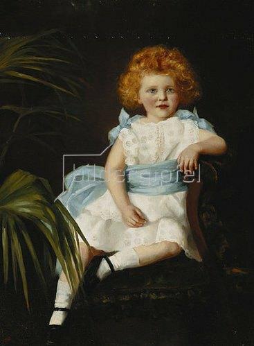 Sybil M. Dowie: Junges Mädchen mit blauer Schärpe.