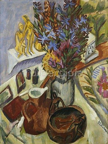 Ernst Ludwig Kirchner: Stillleben mit Krug und afrikanischer Schale. Um 1910-12