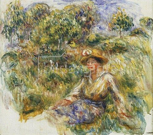 Auguste Renoir: Frau mit blauem Hut auf einer Wiese (Femme en bleu en chapeau assise sur l'herbe). Um 1916