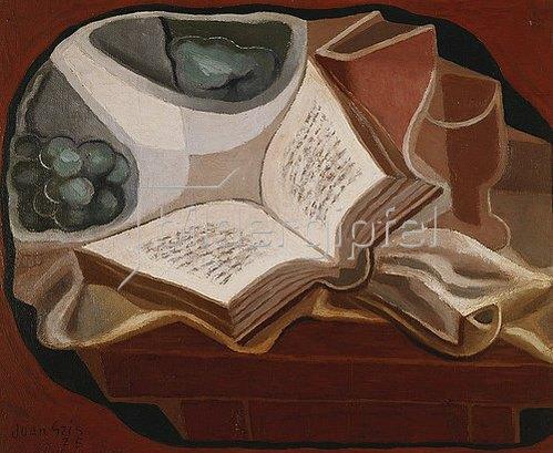 Juan Gris: Stilleben mit Buch und Obstschüssel (Livre et Compotier). 1925
