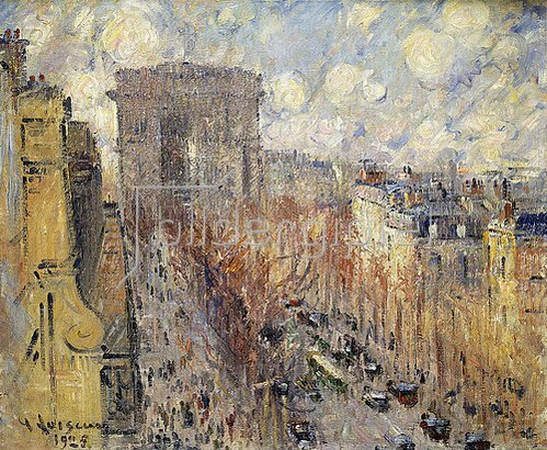 Gustave Loiseau: L'Avenue de Friedland, Paris, an einem bewölkten Tag. 1925