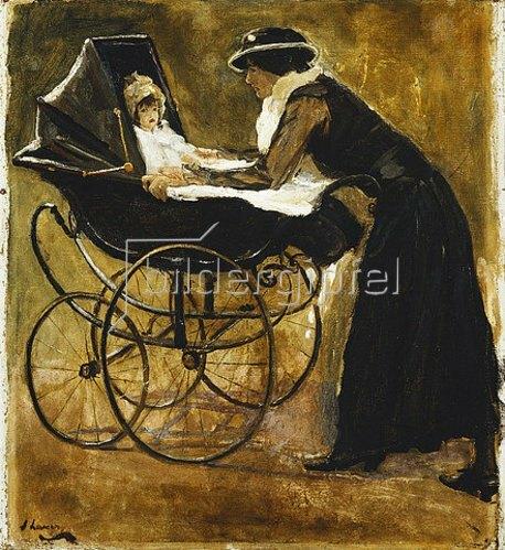 Sir John Lavery: Eine junge Frau mit Baby in einem Kinderwagen.