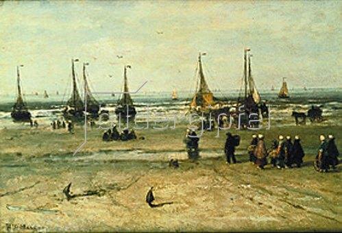 Hendrik Willem Mesdag: Meeresstrand mit Fischerbooten und Fischervolk.