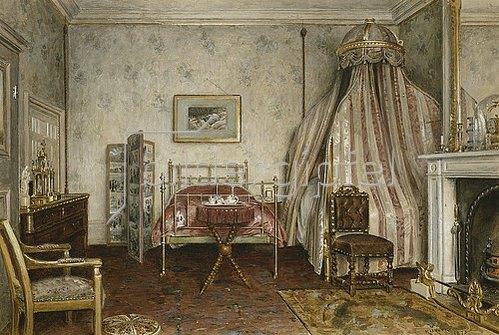 George Goodwin Kilburne: Ansicht des Schlafzimmers, in dem Napoleon III starb, Camden Place, Chislehurst, Kent. 1873