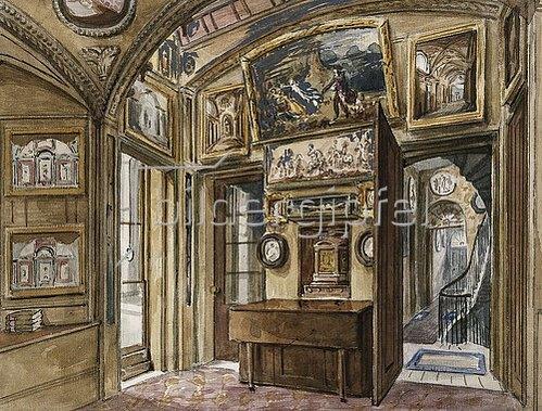 Charles James Richardson: Das Frühstückszimmer mit Blick in die Diele und das Treppenhaus, Sir John Soane's Museum, 13 Lincoln's Inns Fields.