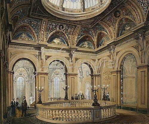 Frederick Sang: Innenansicht des Conservative Club: Eingangshalle und Treppenhaus. 1845