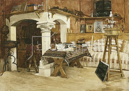 Gustave Mequillet: Das Sommeratelier von Jean Louis Ernst Meissonier (1815-1891) in Poissey.