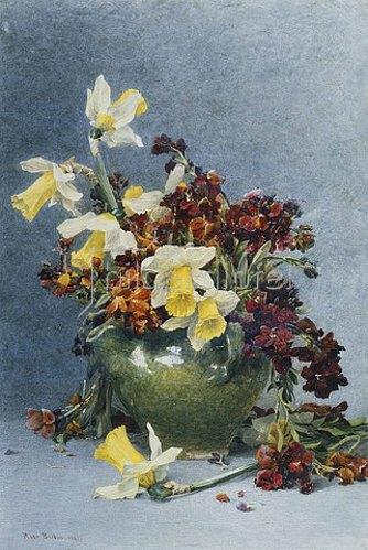 Rose Maynard Barton: Osterglocken und Mauerblümchen in einer grünen Vase. 1890