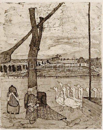 Paula Modersohn-Becker: Die Gänsemagd (Das Märchen von der verlorenen Gans). 1899